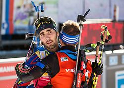 Second placed Martin Fourcade (FRA) and second placed Simon Schempp (GER) at finish line during Men 12,5 km Pursuit at day 3 of IBU Biathlon World Cup 2015/16 Pokljuka, on December 19, 2015 in Rudno polje, Pokljuka, Slovenia. Photo by Vid Ponikvar / Sportida