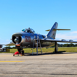 Lancaster, PA, USA - August 22, 2015: A MIG-17 jet  at Lancaster Airport Community Days air show.