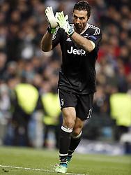 goalkeeper Gianluigi Buffon of Juventus FC during the UEFA Champions League quarter final match between Real Madrid and Juventus FC at the Santiago Bernabeu stadium on April 11, 2018 in Madrid, Spain