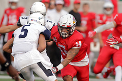 02 September 2017:   DraShane Glass ends an advance by Cam Cooper during the Butler Bulldogs at  Illinois State Redbirds Football game at Hancock Stadium in Normal IL (Photo by Alan Look)