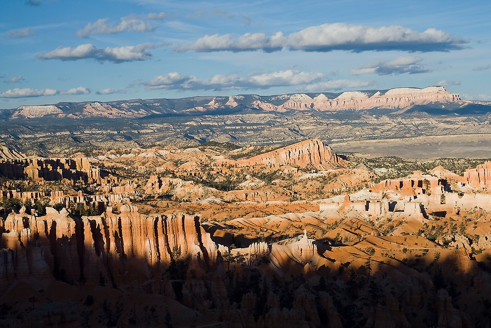 Bryce Amphitheather with colorful sandstone hoodoos at sunset in Bryce Canyon National Park, Utah.