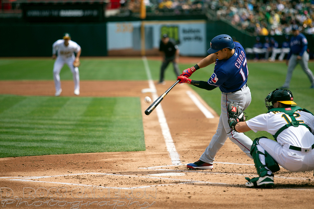 Texas Rangers' Shin-Soo Choo (17) fouls off a pitch against the Oakland Athletics during the second inning of a baseball game, Sunday, Sept. 22, 2019, in Oakland, Calif. (AP Photo/D. Ross Cameron)