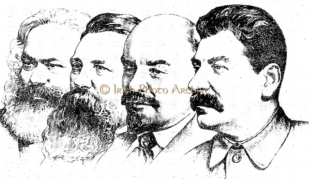 Left to right: Karl Marx, Friedrich Engels, Lenin and Joseph Stalin, the four pioneers of the Soviet Socialism,