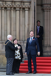 © Licensed to London News Pictures . 23/10/2015 . Manchester , UK . DAVID CAMERON (r) with Manchester Lord Mayor PAUL MURPHY (l) outside Manchester Town Hall waiting for Chinese president , Xi Jinping , who is visiting Manchester as part of his state visit to the United Kingdom . Photo credit: Joel Goodman/LNP