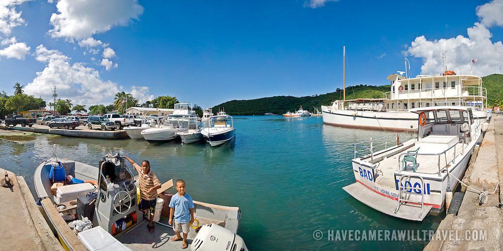 Boats moored in Cruz Bay, St. John, US Virgin Islands, USA. High resolution panorama.