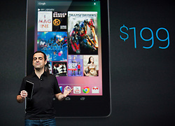 Hugo Barra, product management director of Android, introduces Google's new tablet computer, the Nexus 7 during the keynote speech at  the Google I/O Developer Conference in San Francisco, California.