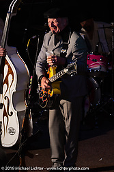 Kenny Duda plays his daily gig with the Razorbacks at the Bank Saloon on Main Street during Daytona Bike Week. FL. USA. Thursday March 15, 2018. Photography ©2018 Michael Lichter.
