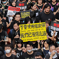 A sea of protesters during June protests in Hong Kong. Protesters are opposed to a controversial extradition bill.