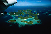 Aerial view of the famed Rock Islands of Palau, Micronesia, in February, 2005.