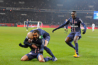 FOOTBALL - FRENCH CHAMPIONSHIP 2012/2013 - L1 - PARIS SAINT GERMAIN v OLYMPIQUE MARSEILLE - 24/02/2013 - PHOTO JEAN MARIE HERVIO / REGAMEDIA / DPPI - JOY PSG AFTER THE LUCAS GOAL