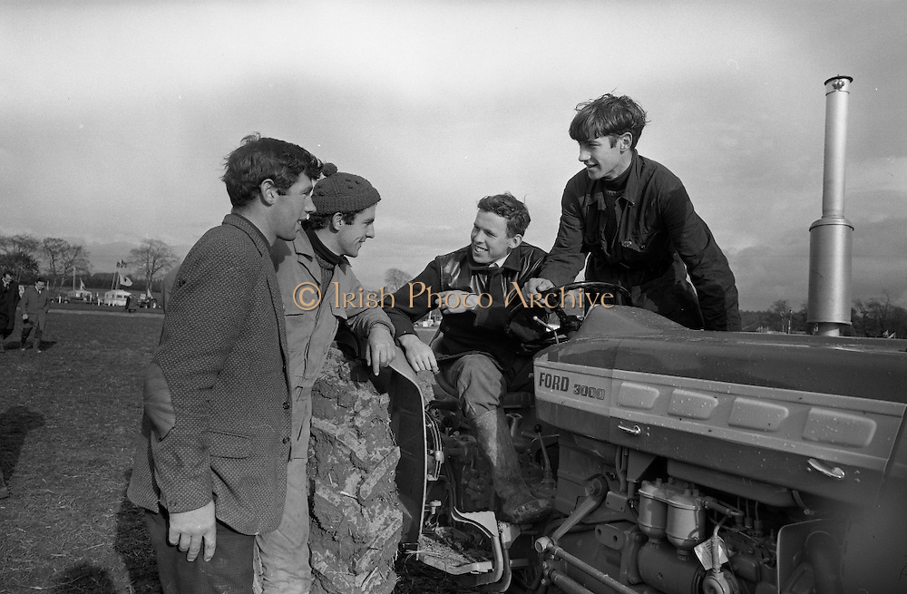 National Ploughing Championships at Tullow, Co. Carlow. Finalists in the Ireland Colleges Ploughing Competition (l-r): Richard Miller (winner); Edward Quigley; William A. Flannery; and John V. Rice..26.10.1967<br /> C923-9220
