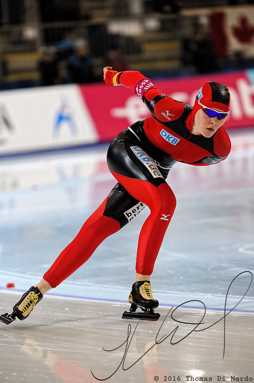 Stephanie Beckert (GER) competes in the ladies 5000m event at the 2009 Essent ISU World Single Distances Speed Skating Championships.