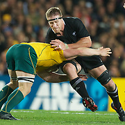 Brad Thorn, New Zealand, is tackled by David Pocock, Australia,  during the New Zealand V Australia Semi Final match at the IRB Rugby World Cup tournament, Eden Park, Auckland, New Zealand, 16th October 2011. Photo Tim Clayton...