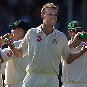 Doug Bollinger jokes with the crowd after dismissing Kamran Akmal caught by Shane Watson during the Australia V Pakistan 2nd Cricket Test match at the Sydney Cricket Ground, Sydney, Australia, 4 January 2010. Photo Tim Clayton