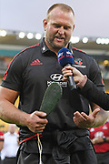 Crusaders Joe Moody celebrates 100 Super Rugby matchs following the Super Rugby match, Hurricanes v Crusaders, Sky Stadium, Wellington, Sunday, April 11, 2021. Copyright photo: Kerry Marshall / www.photosport.nz