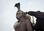 BODI TRIBE FAT MEN<br /> (very) big is beautiful<br /> <br /> Every  year,  takes  place  in the deep south of Ethiopia, in  the <br /> remote  area of Omo valley, the celebration of  the  Bodi  tribe  new <br /> year: the Kael.For  6  months  the  men  from  the tribe will   feed   themselves with only fresh  milk  and  blood  from <br /> the cows. They will not  be allowed to  have sex and to go out of their  little hut.  Everybody will take care of  them, the  girls  bringing  milk  every morning in pots or bamboos. The  winner  is  the  bigger.  He  just <br /> wins fame, nothing special. This  area does not  welcome tourists and has kept his traditions<br /> <br /> Photo shows: A headdress made of ostriches feathers is attached on the head of the fat men<br /> ©Eric lafforgue/Exclusivepix Media