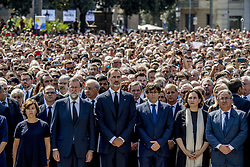 King Felipe of Spain and Spanish Prime Minister, Mariano Rajoy attending the minute silence on the Plaza Cataluna to pay tribute to the attacks in Barcelona, Spain, on August 18, 2017. At least 13 people died and some 100 were injured when a van crashed into pedestrian. Photo by Robin Utrecht/ABACAPRESS.COM