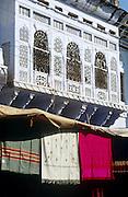 Shawls hanging outside a shop at Pushkar, Rajasthan, India