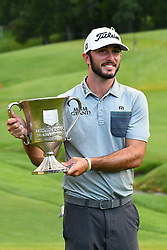 May 5, 2019 - Charlotte, NC, U.S. - CHARLOTTE, NC - MAY 05: Max Homa poses with his trophy for winning the Wells Fargo Championship on May 05, 2019 at Quail Hollow Club in Charlotte,NC. (Photo by Dannie Walls/Icon Sportswire) (Credit Image: © Dannie Walls/Icon SMI via ZUMA Press)