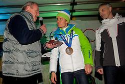 Reception of bronze medalist Teja Gregorin after Sochi Olympic Game on 20 Februrar 2014, in Hotemaze, Slovenia. Photo by Urban Urbanc / Sportida.com