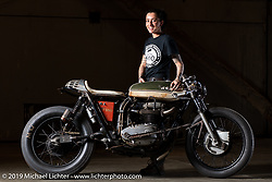"""J Shia with her custom called """"The Manipulated"""", a custom BSA A65 cafe racer that she built with Mike Ulman at J's Madhouse Motors in Boston. Shown here at the Handbuilt Show. Austin, TX. USA. Friday April 20, 2018. Photography ©2018 Michael Lichter."""