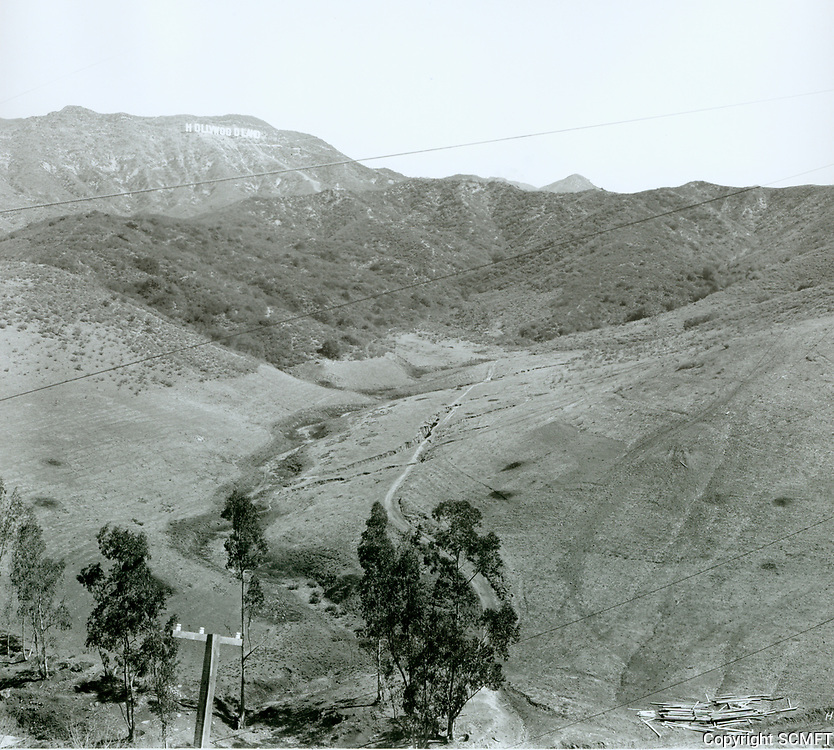 1924 Hollywoodland sign from the future site of Lake Hollywood and Dam