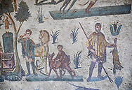 Hunters hunting. Roman mosaic floor of the Room of The Small Hunt, no 25 - Roman mosaics at the Villa Romana del Casale ,  circa the first quarter of the 4th century AD. Sicily, Italy. A UNESCO World Heritage Site. .<br /> <br /> If you prefer to buy from our ALAMY PHOTO LIBRARY  Collection visit : https://www.alamy.com/portfolio/paul-williams-funkystock/villaromanadelcasale.html<br /> Visit our ROMAN MOSAICS  PHOTO COLLECTIONS for more photos to buy as buy as wall art prints https://funkystock.photoshelter.com/gallery/Roman-Mosaics-Roman-Mosaic-Pictures-Photos-and-Images-Fotos/G00008dLtP71H_yc/C0000q_tZnliJD08