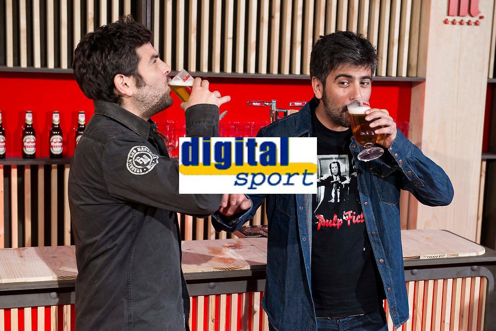 Music group Estopa, Jose Muñoz (L) and David Muñoz (R) during the presentation of the new spot of  Mahou 5 Estrellas at Capitol Cinemas in Madrid. March 29, 2016. (ALTERPHOTOS/Borja B.Hojas)