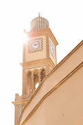 Low angle view of clock tower in old medina, Casablanca, Morocco