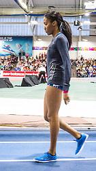 New Balance Indoor Grand Prix Track, womens 1000 meters, Ajee WIlson warmup