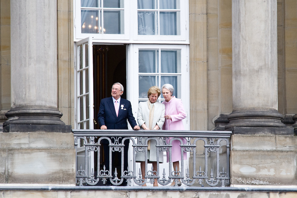 16.04.2015. Copenhagen, Denmark.<br /> Constantine II, Anne-Marie of Greece and Princess Benedikte attended The 75th Birthday of Queen Margrethe of Denmark at Amalienborg Palace.<br /> Photo:© Ricardo Ramirez