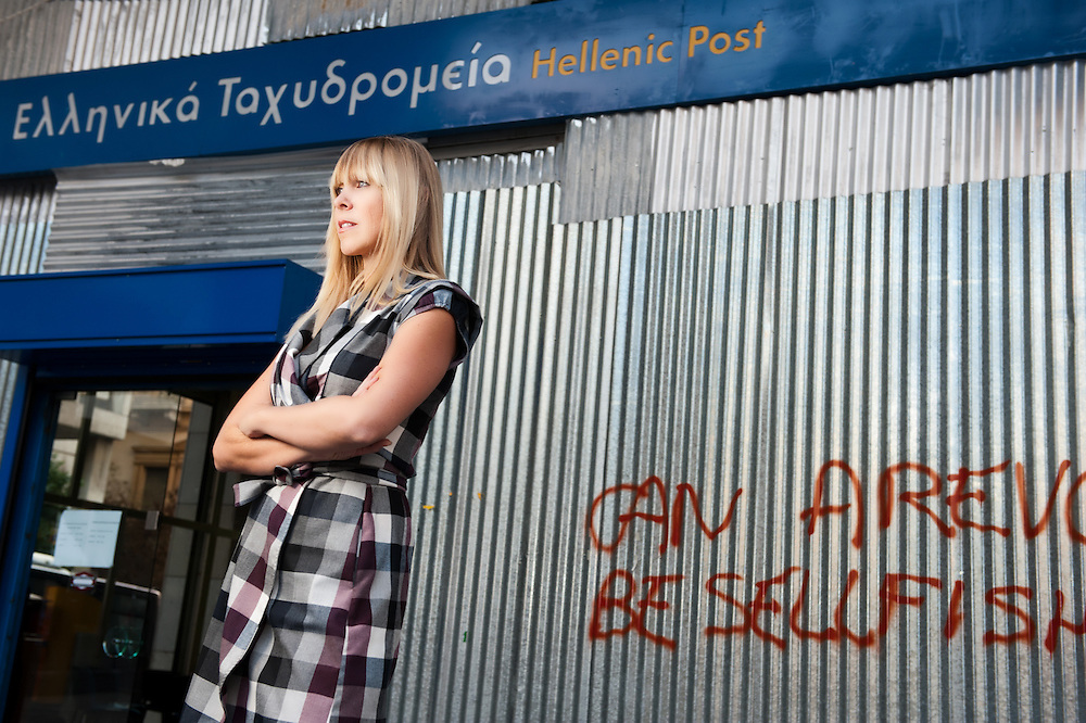 Amanda Dardanis photographed in Athens central post office for The Sydney Telegraph - Australia