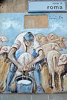 Italie. Sardaigne. Peintures murales dans le village de Villamar. //  Italy, Sardinia, Mural painting on the village of Villamar.