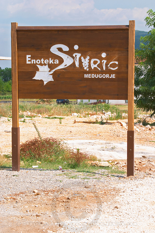 A sign outside the winery. Podrum Vinoteka Sivric winery, Citluk, near Mostar. Federation Bosne i Hercegovine. Bosnia Herzegovina, Europe.