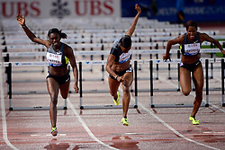 30.08.2012, Stadion Letzigrund, Zuerich, SUI, Leichtathletik, Weltklasse Zurich 2012, im Bild, Siegrein Dawn Harper (L, USA), Kellie Wells (M, USA) und Phylicia George (R, USA), 100m Huerden Frauen // during Athletics World Class Zurich 2012 at Letzigrund Stadium, Zurich, Switzerland on 2012/08/30. EXPA Pictures © 2012, PhotoCredit: EXPA/ Freshfocus/ Andy Mueller..***** ATTENTION - for AUT, SLO, CRO, SRB, BIH only *****