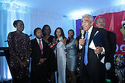 """September 18, 2012- Harlem, New York: (L-R) Van Woods, Sylvia's Restaurant, Trenesse Wood-Black, Sylvia's Resturant, U.S. Congressman Charles Rangel and Rev. Al Sharpton attend Sylvia's Restaurant 50th Anniversary Golden Jubliee Gala celebrating the life and legacy of the late Sylvia Woods and held at Sylvia's Restaurant on September 18, 2012 in the Village of Harlem, USA. The 50th Anniversary Gala salutes Sylvia's as """"the world's kitchen"""" and celebrates a legend of the historic Harlem community. With an invite-only fundraising event for 500+ guests, the night kicked-off with a lavish cocktail hour and live performances from Sylvia's A-list guests, many of whom have made Sylvia's a home away from home for the past 5 decades. (Terrence Jennings)"""