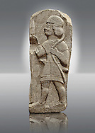 Late Hittite Basalt funereal Steel with a relief sculpture of a warrior from 9 - 8th Cent B.C, excavated from Arslan Tash (Turkish; Arslan Lion, Taş Stone), ancient Hadātu, is an archaeological site in northern Syria 30km east of the Euphrates River and nearby the town of Ain al-Arab. Istanbul Archaeological Museum Inv. No 1981. .<br /> <br /> If you prefer to buy from our ALAMY STOCK LIBRARY page at https://www.alamy.com/portfolio/paul-williams-funkystock/hittite-art-antiquities.html - Type - Hadatu   - into the LOWER SEARCH WITHIN GALLERY box. Refine search by adding background colour, place, museum etc<br /> <br /> Visit our HITTITE PHOTO COLLECTIONS for more photos to download or buy as wall art prints https://funkystock.photoshelter.com/gallery-collection/The-Hittites-Art-Artefacts-Antiquities-Historic-Sites-Pictures-Images-of/C0000NUBSMhSc3Oo
