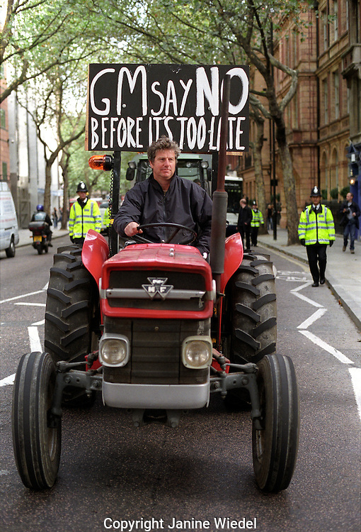 Demonstration through central London protesting introduction of G M foods December 2003.