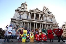 Mascots outside St Paul's Cathedral ahead of the 2019 London Landmarks Half Marathon.