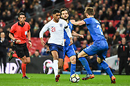England Forward Marcus Rashford (21) and Italy Defender Daniele Rugani (15) in action during the Friendly match between England and Italy at Wembley Stadium, London, England on 27 March 2018. Picture by Stephen Wright.