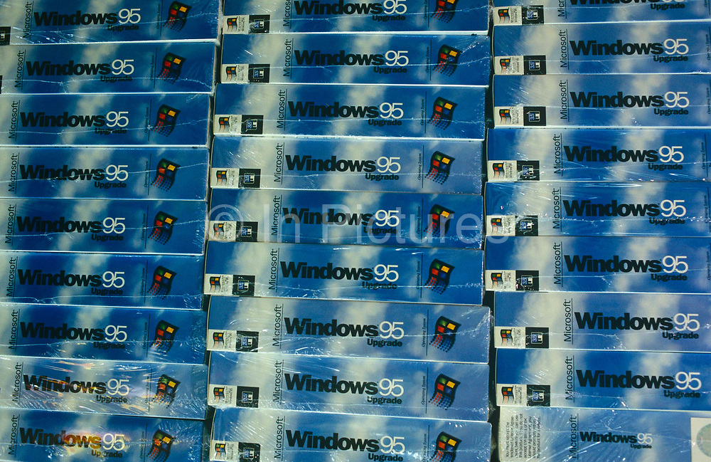 Display boxes at the launch of Microsofts Windows 95 operating system software, sold at midnight on 23rd August 1995, in Croydon, London, England.
