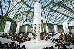A model displays a creation by German designer Karl Lagerfeld for French house Chanel Haute-Couture Spring-Summer 2006 fashion Show held at the Grand Palais in Paris, France, on January 24, 2006. Photo by Java/ABACAPRESS.COM