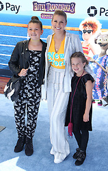 """Jodie Sweetin with her daughters Zoie Laurel May Herpin and Beatrix Carlin Sweetin Coyle at the premiere of """"Hotel Transylvania 3: Summer Vacation"""" held at the Westwood Village Theatre in Los Angeles"""