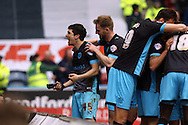 Fernando Forestieri of Sheffield Wednesday (l) celebrates with his teammates after scoring his teams 1st goal. Skybet football league Championship match, Huddersfield Town v Sheffield Wednesday at the John Smith's Stadium in Huddersfield, Yorkshire on Saturday 2nd April 2016.<br /> pic by Chris Stading, Andrew Orchard sports photography.