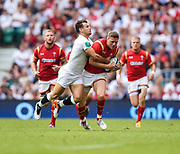 Wales' Rhys Priestland is held by England's Danny Care during the The Old Mutual Wealth Cup match England -V- Wales at Twickenham Stadium, London, Greater London, England on Sunday, May 29, 2016. (Steve Flynn/Image of Sport)