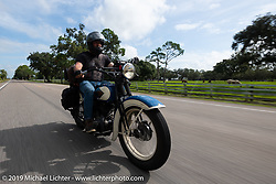 Brian Doerfler riding his 1935 Harley-Davidson VL in the Cross Country Chase motorcycle endurance run from Sault Sainte Marie, MI to Key West, FL. (for vintage bikes from 1930-1948). Stage-9 covered 259 miles from Lakeland, FL to Miami, FL USA. Saturday, September 14, 2019. Photography ©2019 Michael Lichter.