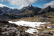 Images from the Lofoten Islands in arctic Norway at midsummer. Hiking near Munkebu Hut.
