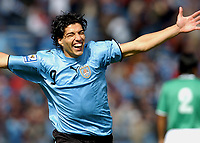 Uruguay's LUIS SUAREZ  celebrating his goal during the match  against Bolivia during their 2010 World Cup qualifying soccer match in Montevideo, October 13, 2007<br /> URUGUAY beat BOLIVIA by 5-0. at the Centenario Stadium in MOntevideo Uruguay.<br /> © PikoPress