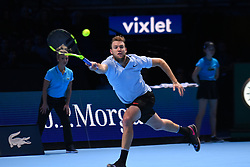 November 18, 2017 - London, England, United Kingdom - US player Jack Sock returns to Bulgaria's Grigor Dimitrov during their men's singles semi-final match on day seven of the ATP World Tour Finals tennis tournament at the O2 Arena in London on November 18, 2017. (Credit Image: © Alberto Pezzali/NurPhoto via ZUMA Press)