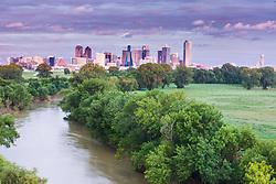 Trinity River at sunset, Dallas, Texas, USA.